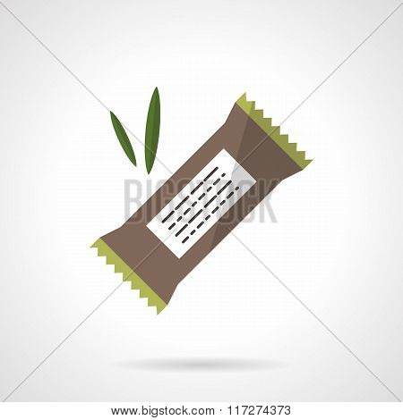 Chocolate protein bar flat vector icon
