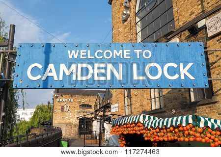 Welcome Banner At Entrance Of Camden Lock Market In London