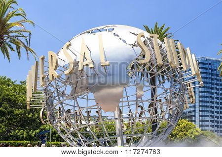 Hollywood- Usa, July 16, 2014: Universal Studios Sign Seen At Universal Studios In Los Angeles In Ju
