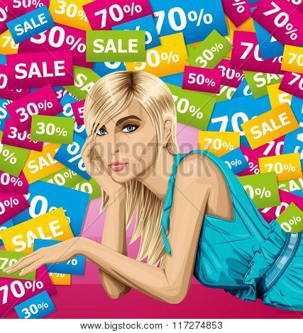 Vector fashion blonde in blue dress lies on a floor