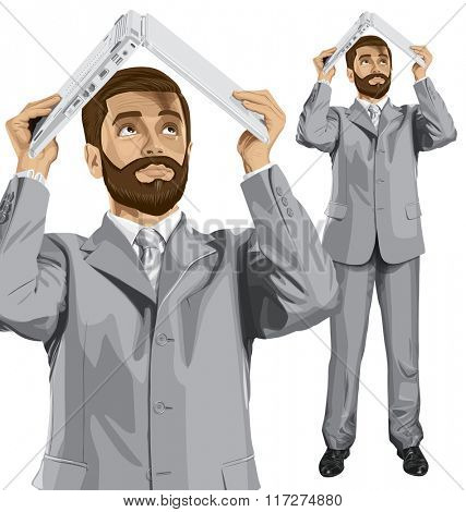 Vector business man with beard hides under the laptop in his hands