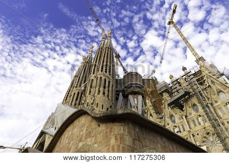 Incomplete, The Church Sagrada Familia Is A Large Roman Catholic Church In Barcelona