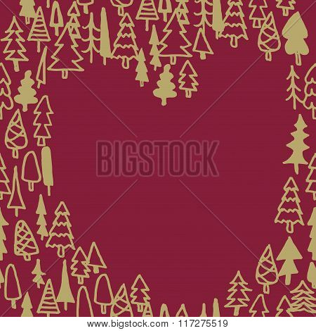 Seamless Pattern With Hand Drawn Pine Forest Heart