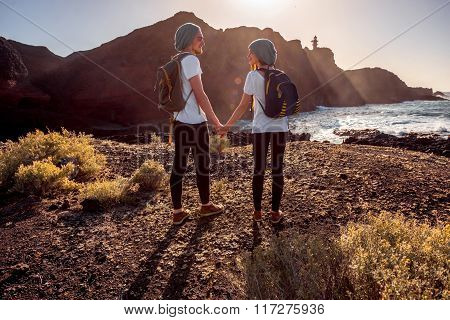 Young couple traveling nature