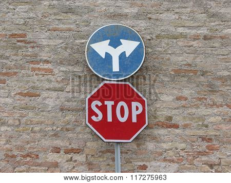 Regulatory signs Stop traffic sign and turn left or turn right