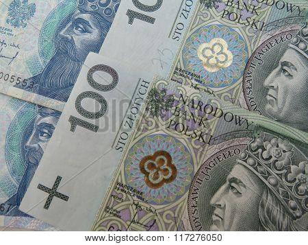 Polish Zloty Banknotes And Coins