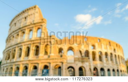 Defocused Background Of The Flavian Amphitheatre, Aka Colosseum, Rome, Italy