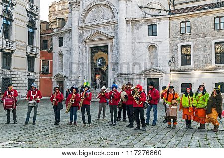 Group Of Singers At The Carnival Procession On Venice Italy 2