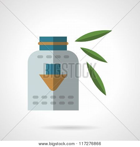 Organic dietary supplements flat vector icon