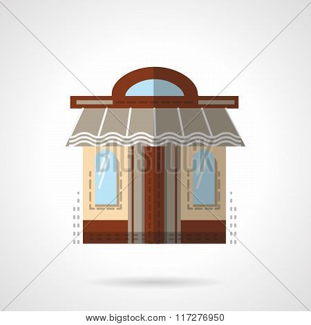 Barbershop facade flat color vector icon