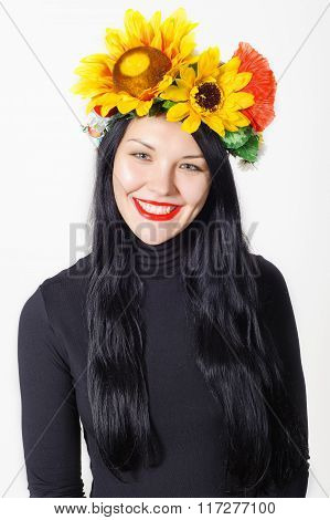 Beautiful Girl With A Wreath On His Head
