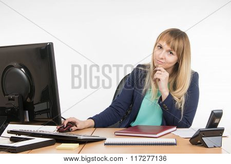 Upset By A Specialist Working In The Office Computer, Look Into The Frame