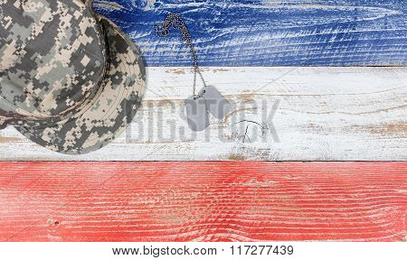 Usa National Colors With Military Cap And Id Tags On Wooden Planks