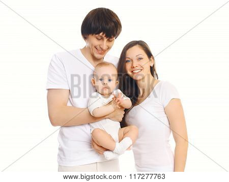 Happy Young Family Together, Mother And Father With Baby On White Background
