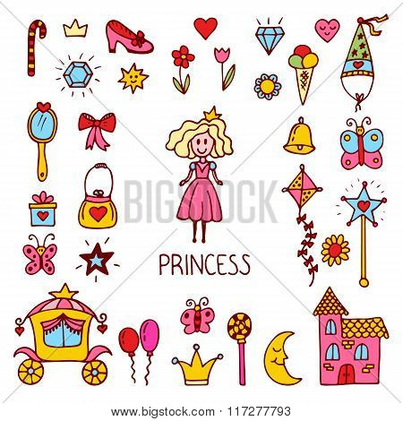 Little Princess Design Elements. Cute Hand Drawn Princess Collection. Sweet Princess Set Of Vector I