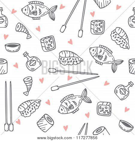 Sushi And Rolls Seamless Pattern. Sushi Texture. Hand Drawn Sketch Japanese Food Seamless Background