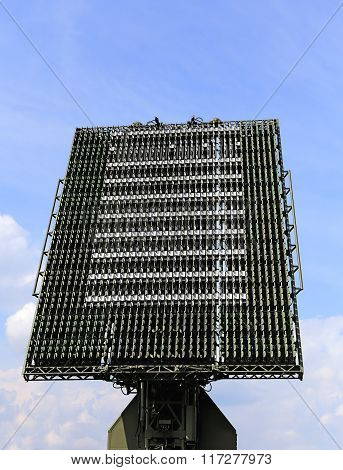 MOSCOW REGION - AUGUST 27: All-around antenna of the air defence compex made of phased array technology on a rotating platform  on August  27, 2015 in Moscow region