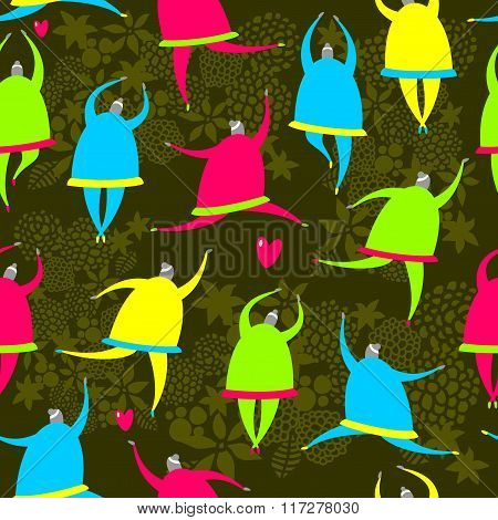 Seamless pattern of dancing girls.
