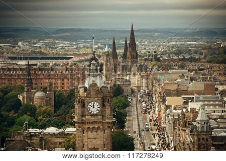 Edinburgh city street viewed from Calton Hill. United Kingdom.
