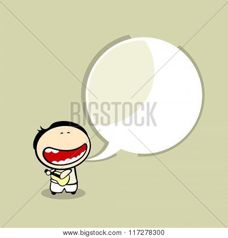 Card with a singing guitarist and a speech bubble window for your text (raster version)