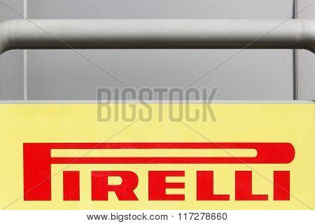 Pirelli logo on a wall