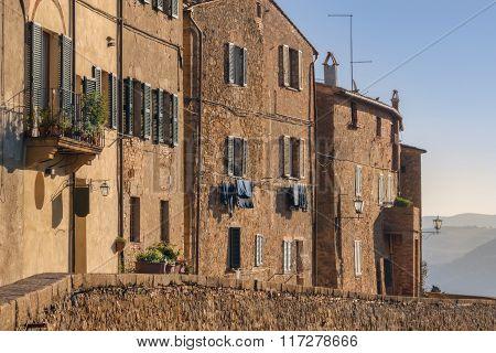 Medieval Walls Of Pienza. Pienza Is The Medieval Italian Village In Tuscany. In 1996, Unesco Declare