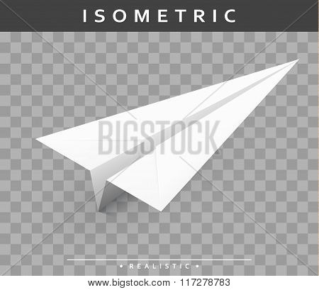 realistic paper airplane in the isometric view with transparent shade