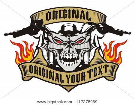 motorcycle skull emblem fire