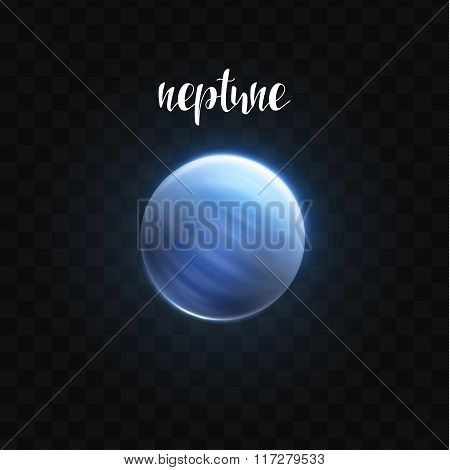 Realistic glowing Neptune planet Isolated. Glow with transparency. Space