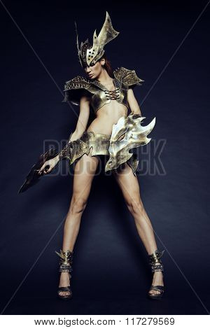 Woman in fantasy metallic armor