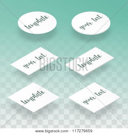 Isometric flat and realistic card template for design presentations