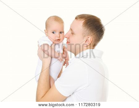 Happy Young Father And Baby On A White Background