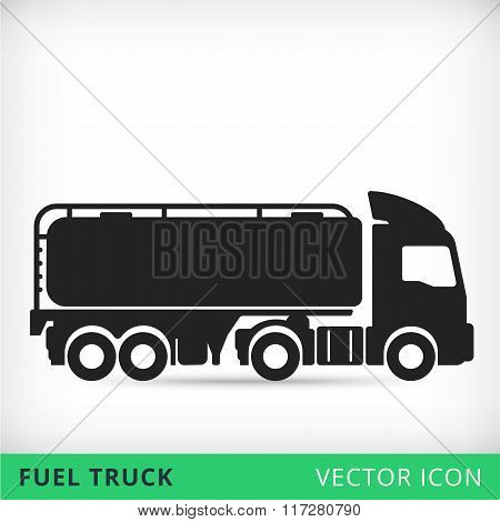 Fuel truck flat vector icon