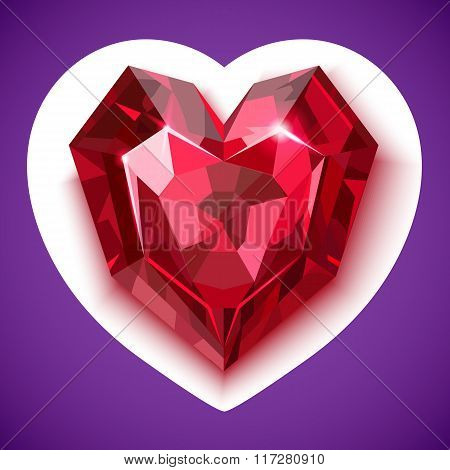Ruby red angular heart vector icon