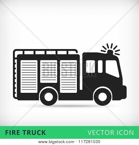 fire truck flat vector icon