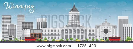 Winnipeg Skyline with Gray Buildings and Blue Sky. Business Travel and Tourism Concept with Modern Buildings. Image for Presentation Banner Placard and Web Site.