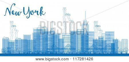 Abstract Outline New York city skyline with skyscrapers. Business and tourism concept with place for text. Image for presentation, banner, placard and web site