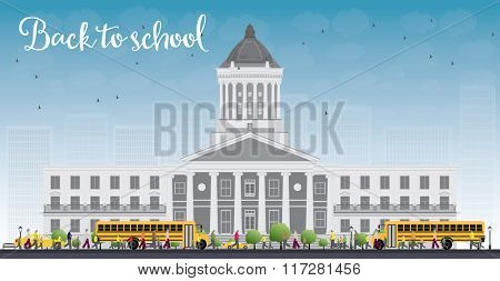 Landscape with school bus, school building and people. Education concept.