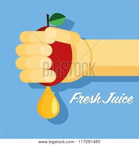 fresh juice, hand with apple, flat, healthy food, apple juice