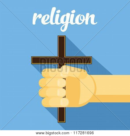 religion illustration, cross in hand, faith, vector hand with cross