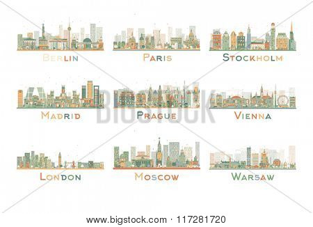 Set of 9 Abstract Europe City Skyline. Skyline with World Landmarks. Business travel and tourism concept. Image for presentation, banner, placard and web site.