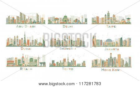Set of 9 Abstract City Skyline. Skyline with World Landmarks. Business travel and tourism concept. Image for presentation, banner, placard and web site.