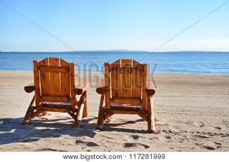 Beach Chairs On Lake Shore