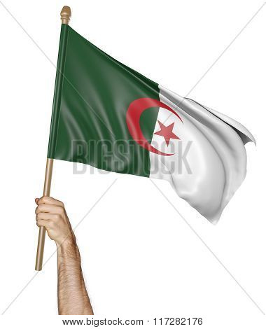 Hand proudly waving the national flag of Algeria