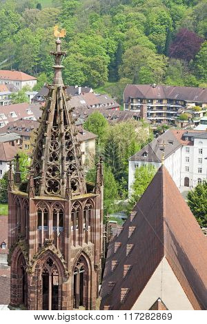 Tower Of Freiburg Munster Cathedral, Freiburg Im Breisgau City, Germany