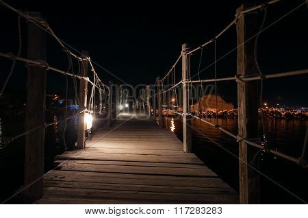 Wooden Bridge To Cameo Island At Night