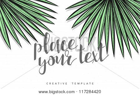 Template design of green palm leaves for marketing
