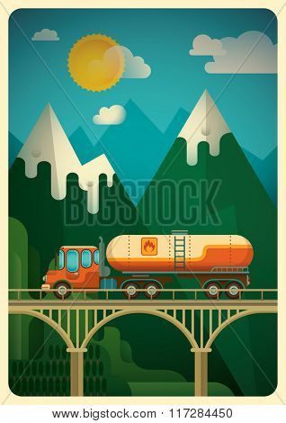 Truck in the mountain. Vector illustration.