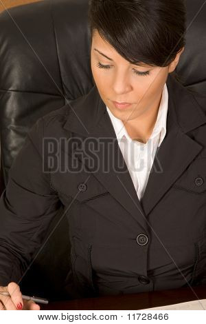 Executive Assistant Woman In Business Suit Writing