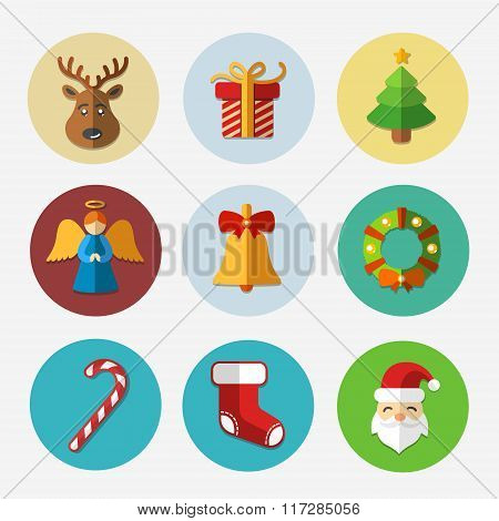 Christmas bright icons collection - vector illustration.